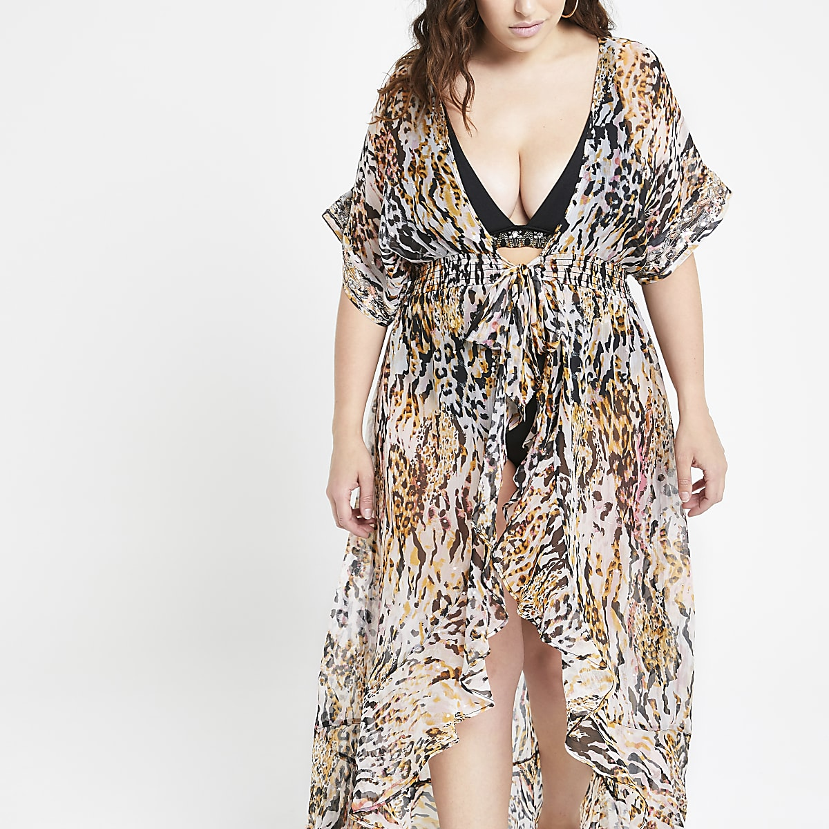 3d36ca47486e7 Plus brown animal print beach dress - Kaftans & Beach Cover-Ups ...