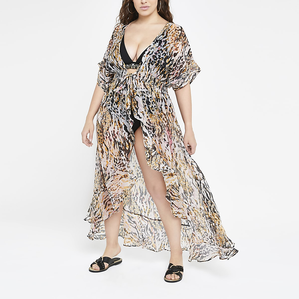 Plus – Robe de plage imprimé animal marron
