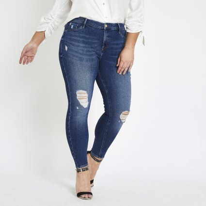 Plus mid blue ripped Molly jeggings