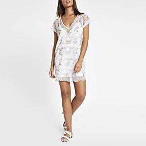 White embellished beach dress