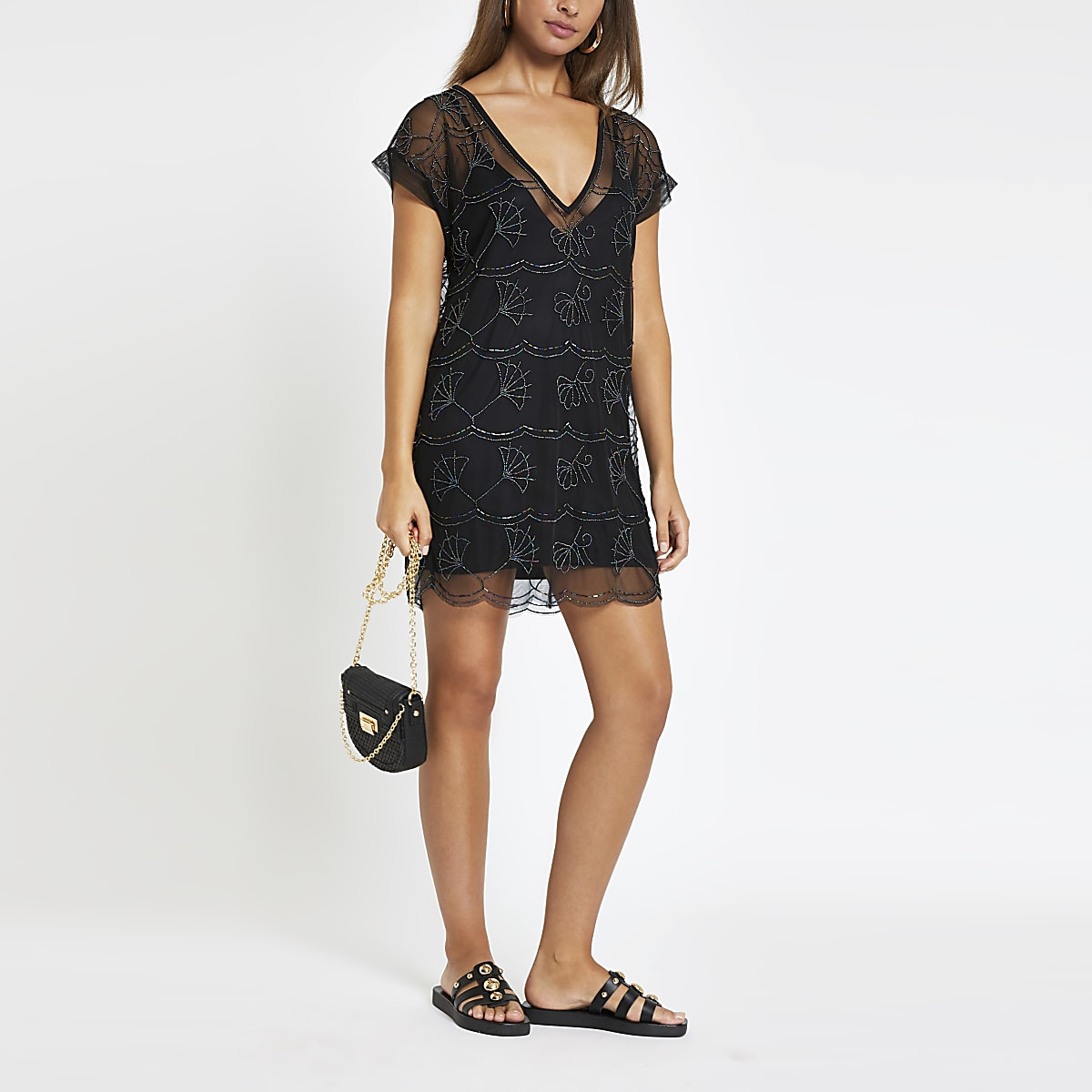 Black embellished mini beach dress