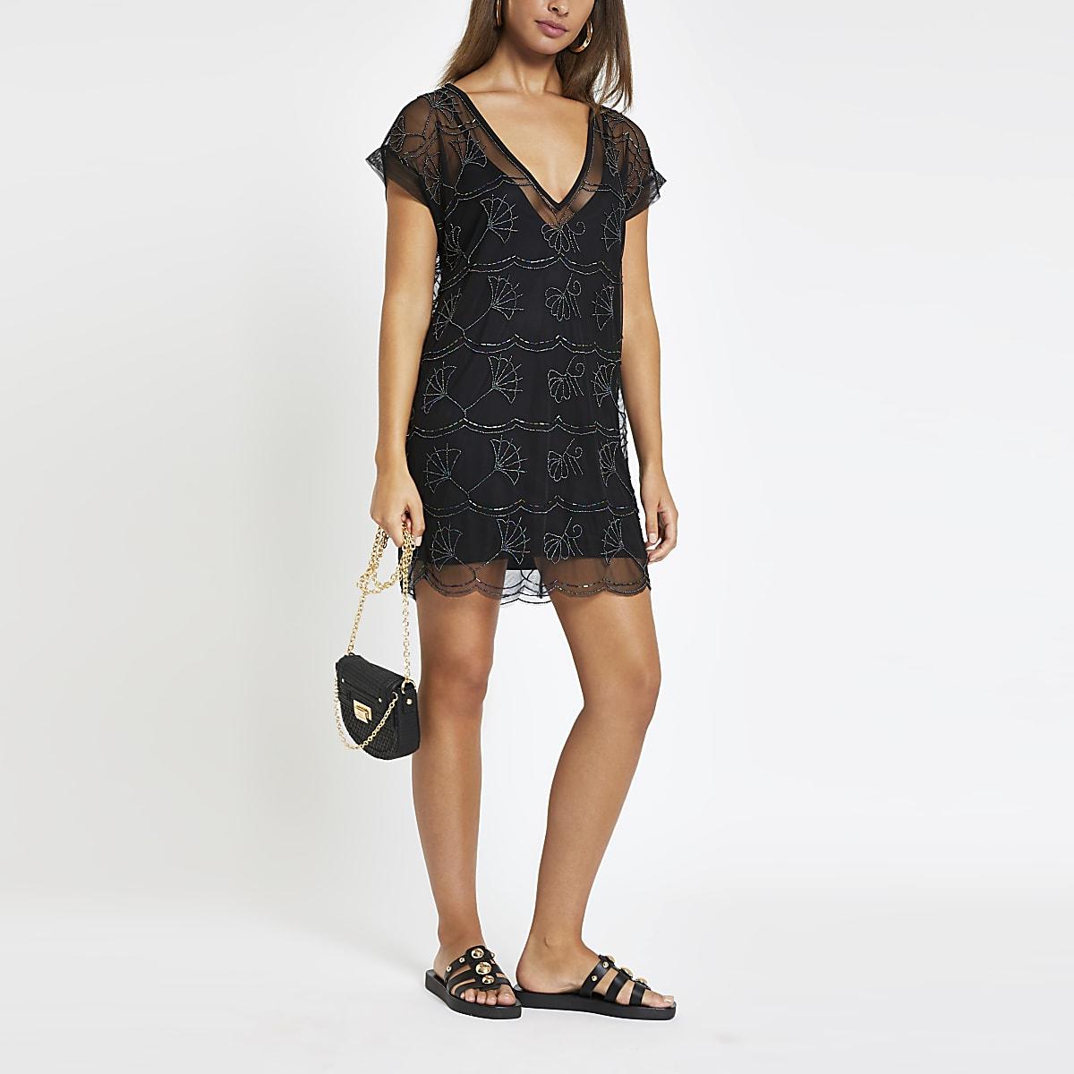 Mini robe de plage noire ornée