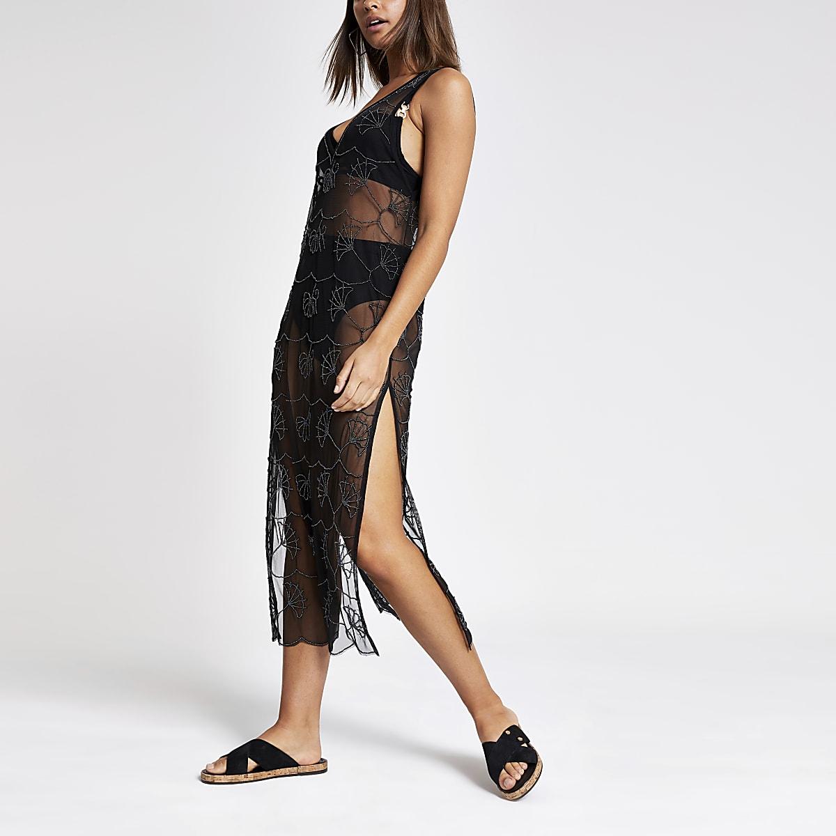 Schwarzes Maxi-Strandkleid mit Verzierung