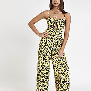 Combinaison imprimé léopard jaune nouée sur le devant