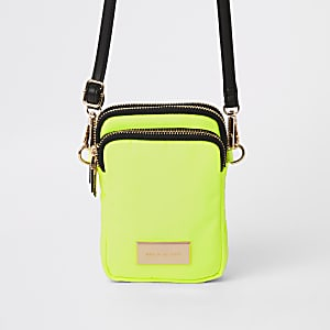 Neon yellow mini pouch cross body bag