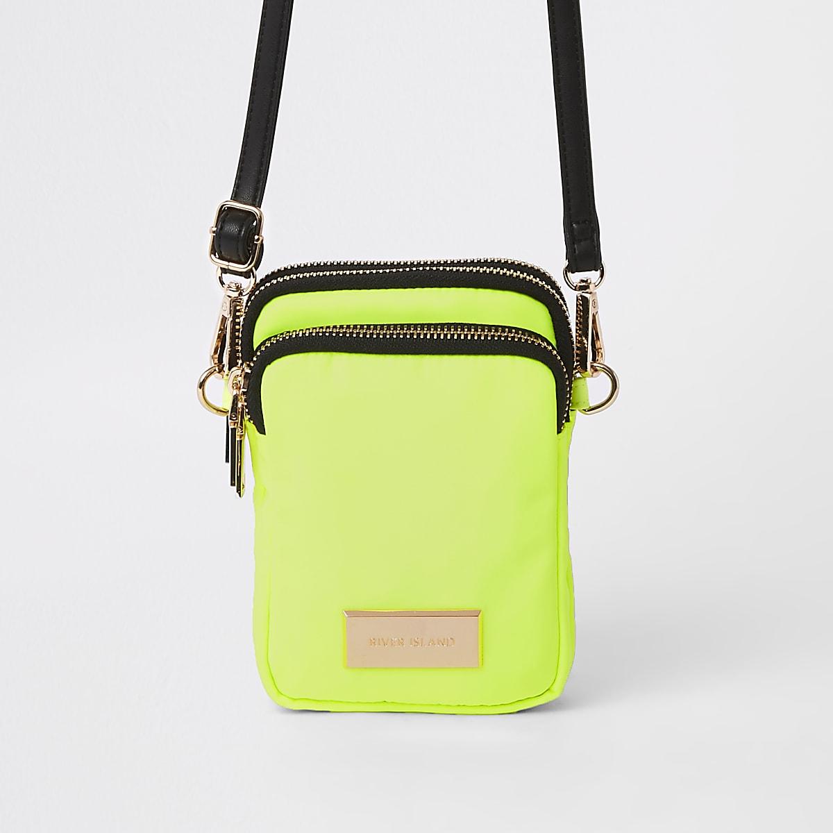 Neon yellow mini pouch cross body bag