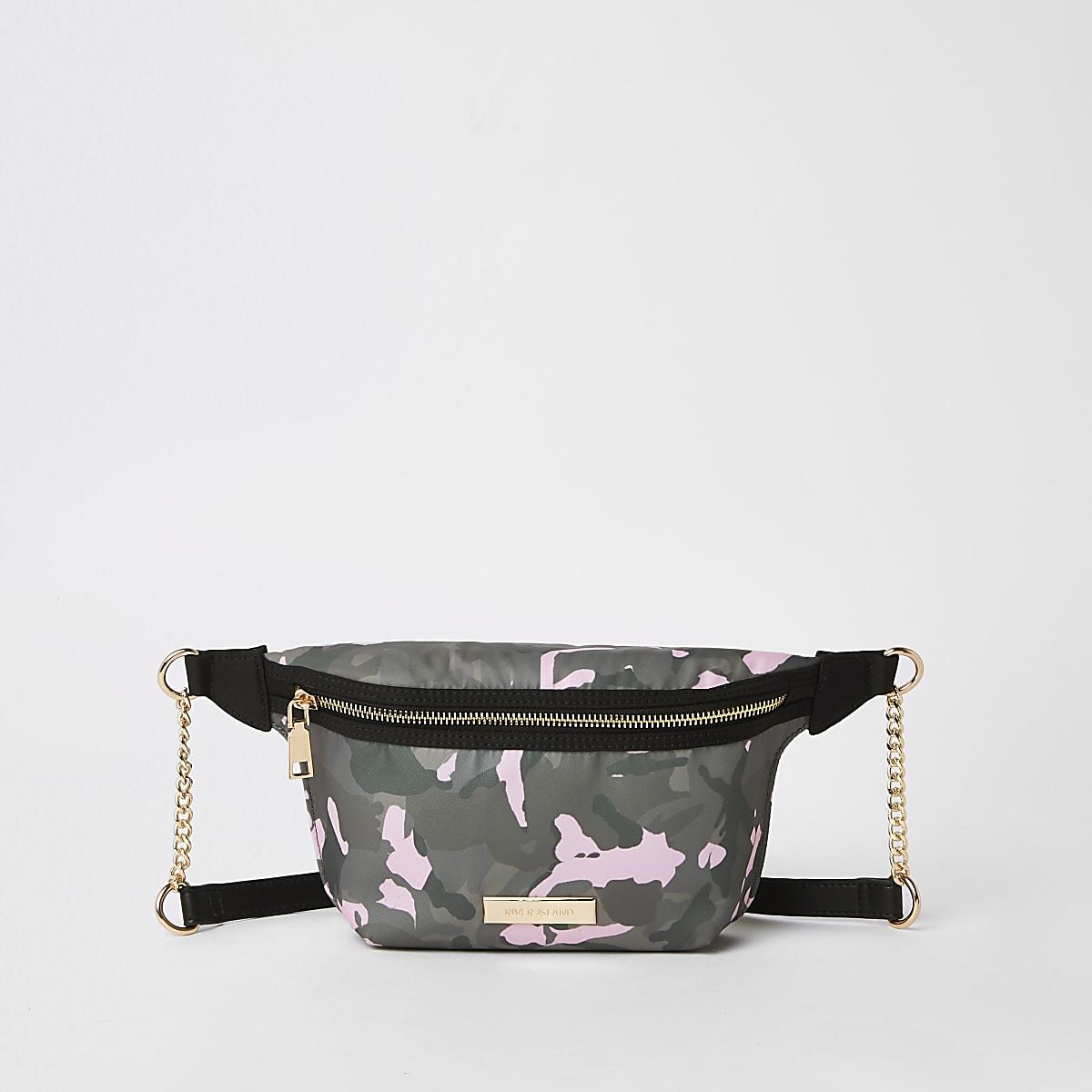 Khaki camo print belt bag