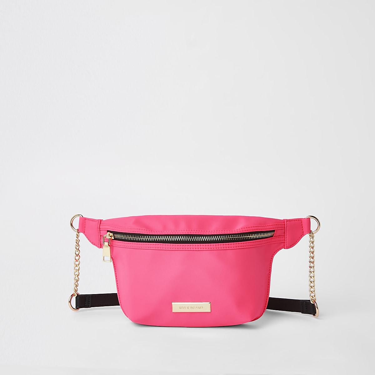 Neon pink belt bag
