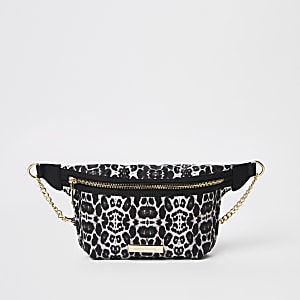 Beige leopard print belt bag
