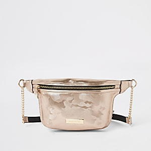 Rose gold camo print belt bag