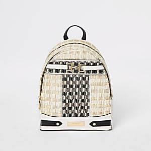Beige weave snaffle front backpack