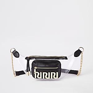 Zwarte perspex tas met RI-logo en riem
