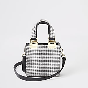 Silver diamante mini cross body tote bag