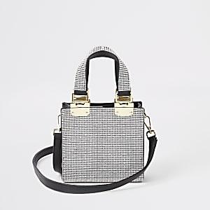 Zilverkleurige kleine crossbodytas met siersteentjes