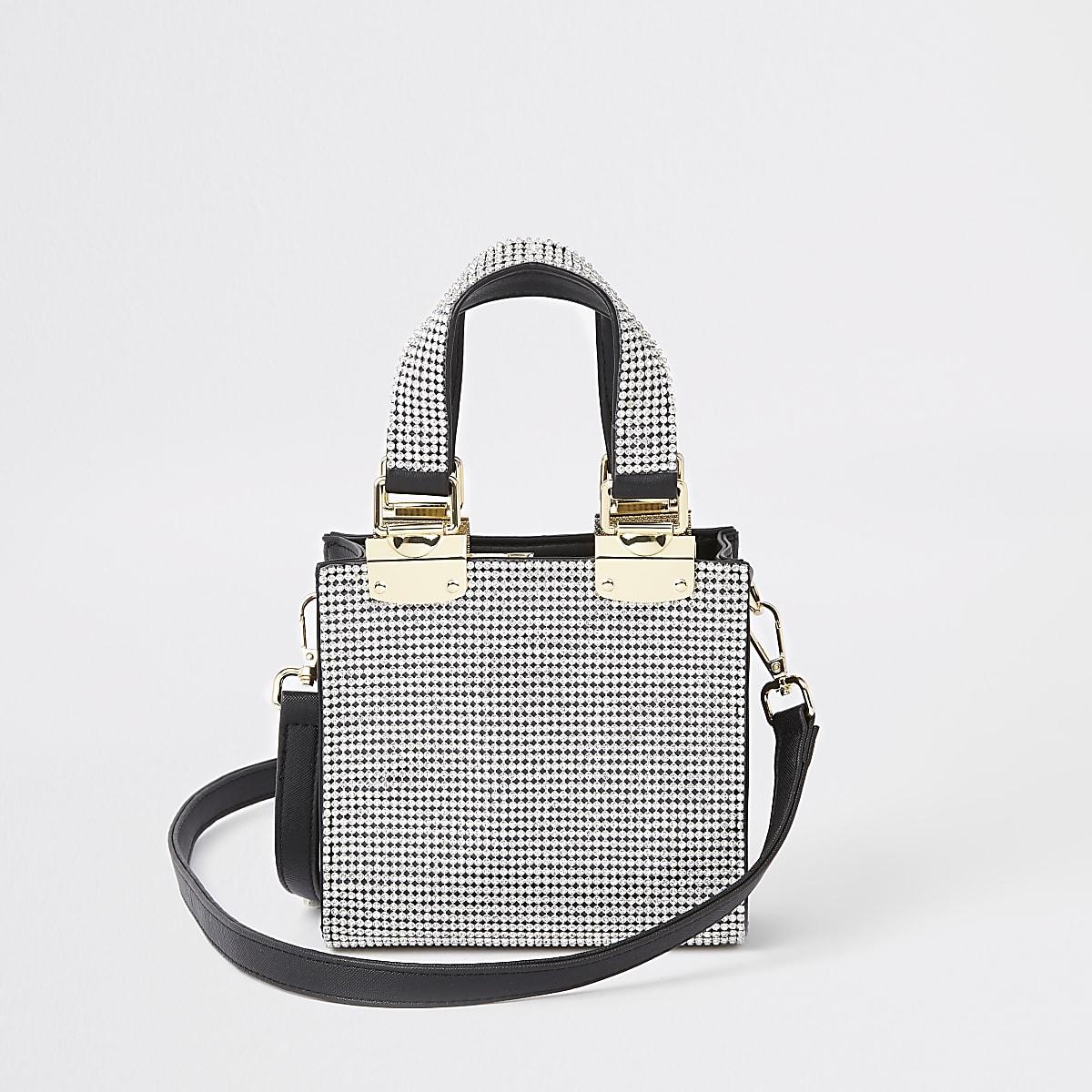 Silver diamante mini cross body tote bag