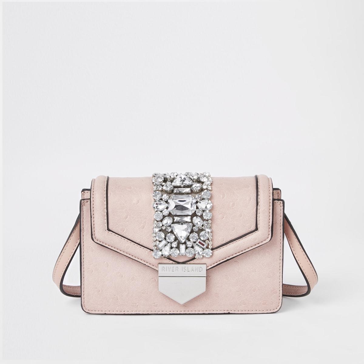 Roze vierkante verfraaide crossbodytas