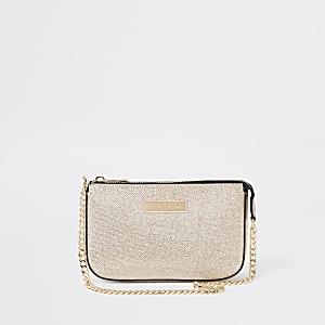 Petit sac porté épaule doré à paillettes