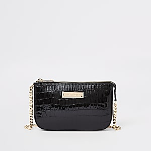 Black croc mini underarm bag