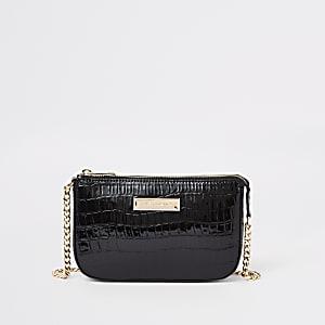 Zwarte kleine onderarmtas met krokodillenprint