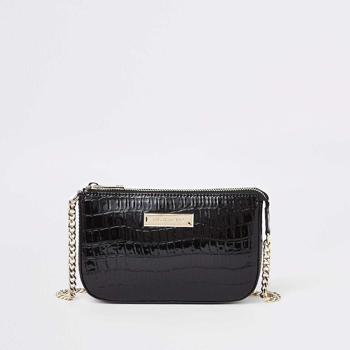 Petit sac porté épaule effet croco noir