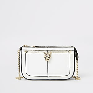 White jaguar detail mini underarm bag
