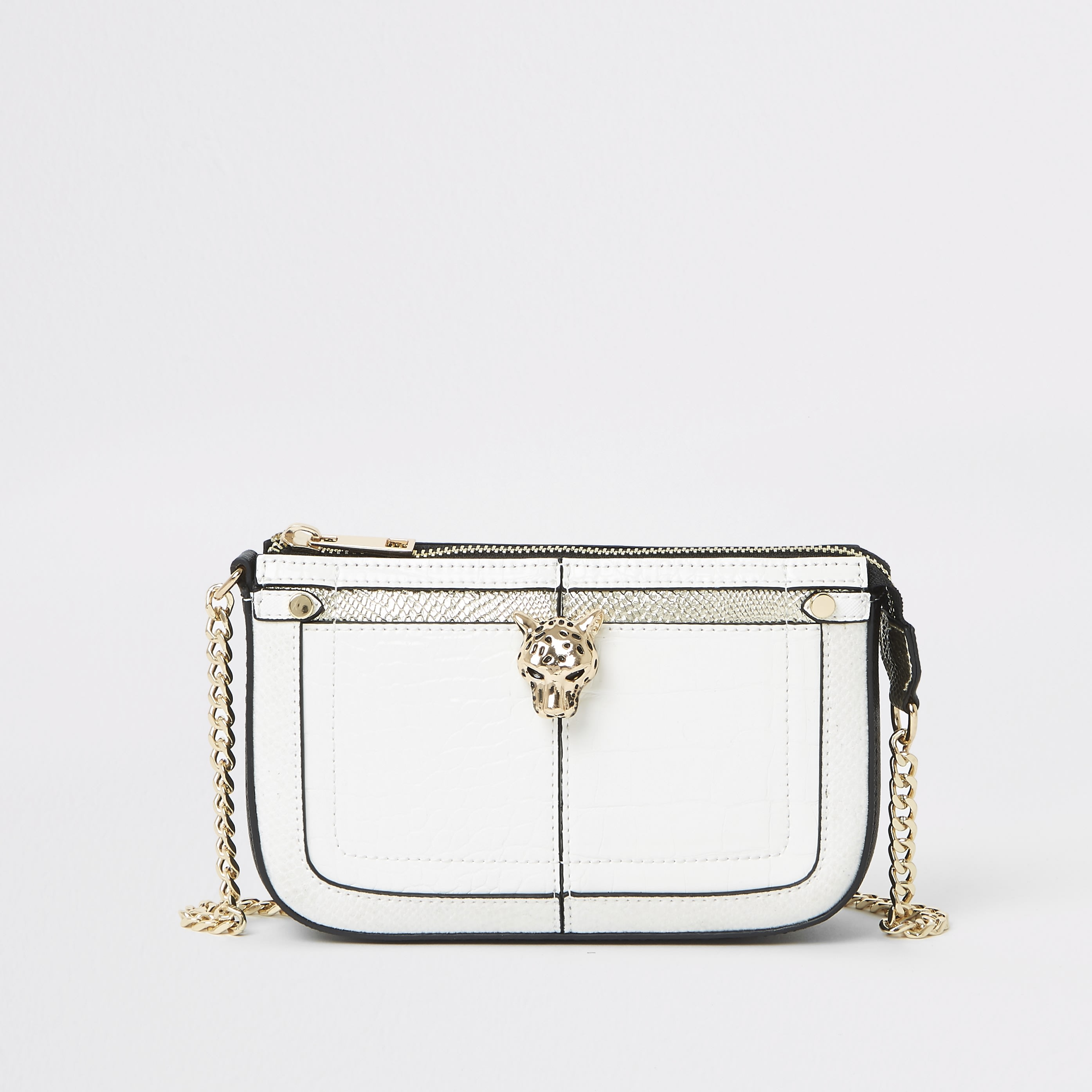 RIVER ISLAND | Womens White Jaguar Detail Mini Underarm Bag | Goxip