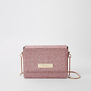 Pink diamante chain mini cross body bag