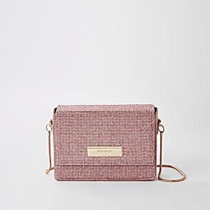 Pink rhinestone chain mini cross body bag