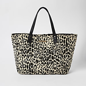 White leopard print beach tote bag