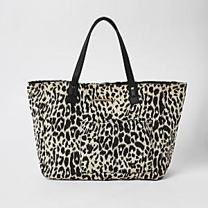 Cabas de plage à imprimé léopard blanc