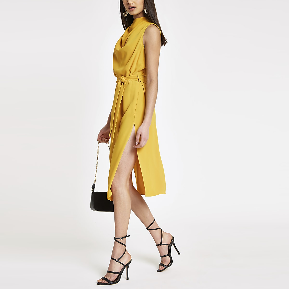 Yellow cowl neck tie waist sleeveless dress
