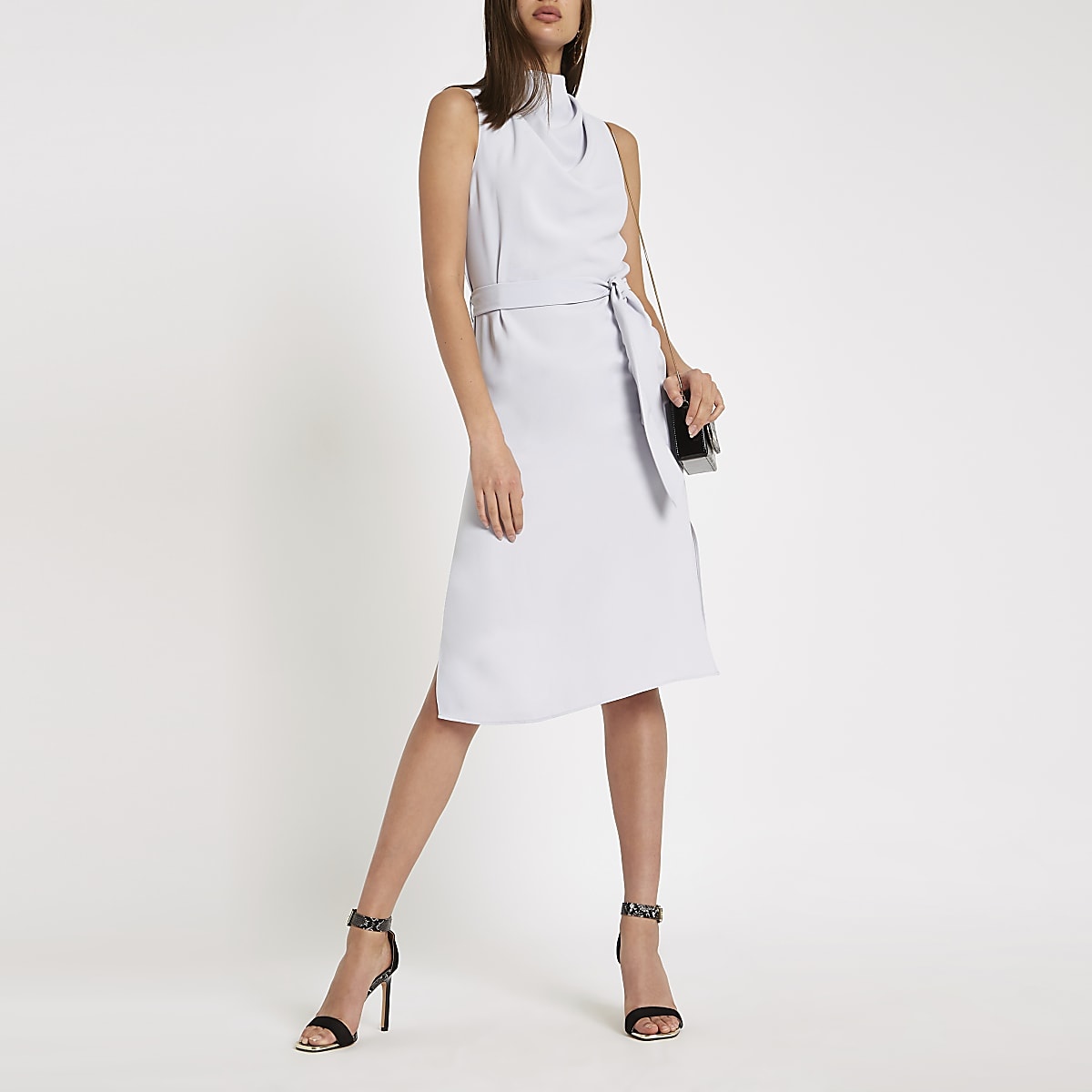 Blue cowl neck tie waist sleeveless dress