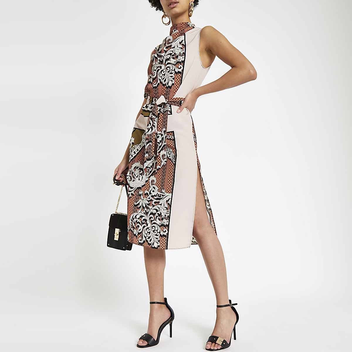 Brown mixed print cowl neck tie waist dress