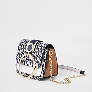 Blue RI circle flap front cross body bag