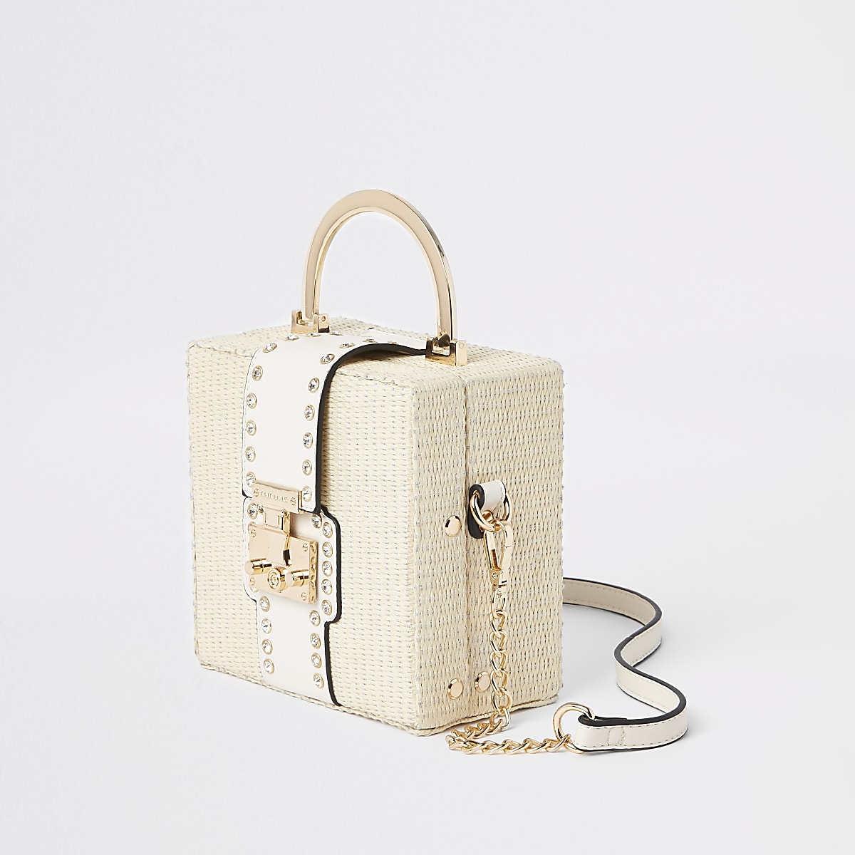 Beige woven cross body bag