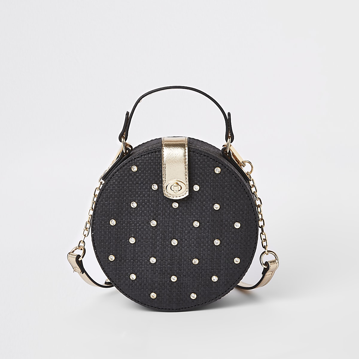 Black embellished woven circle cross body bag
