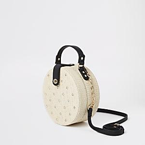 Beige embellished woven circle cross body bag