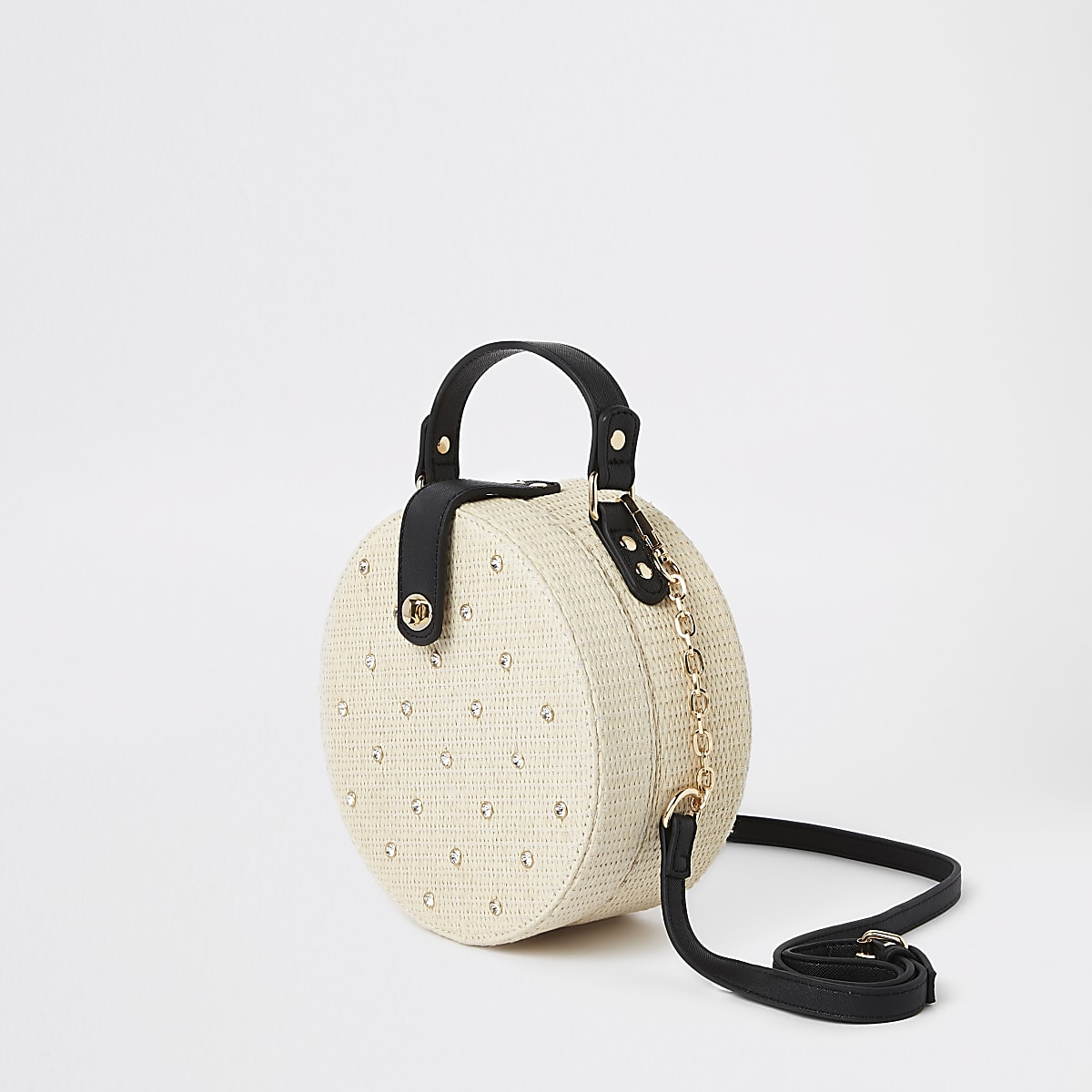 Beige embellished woven circle cross body bag