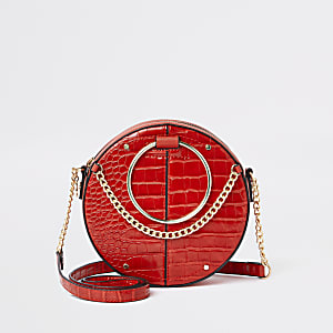 Red croc ring handle circle cross body bag