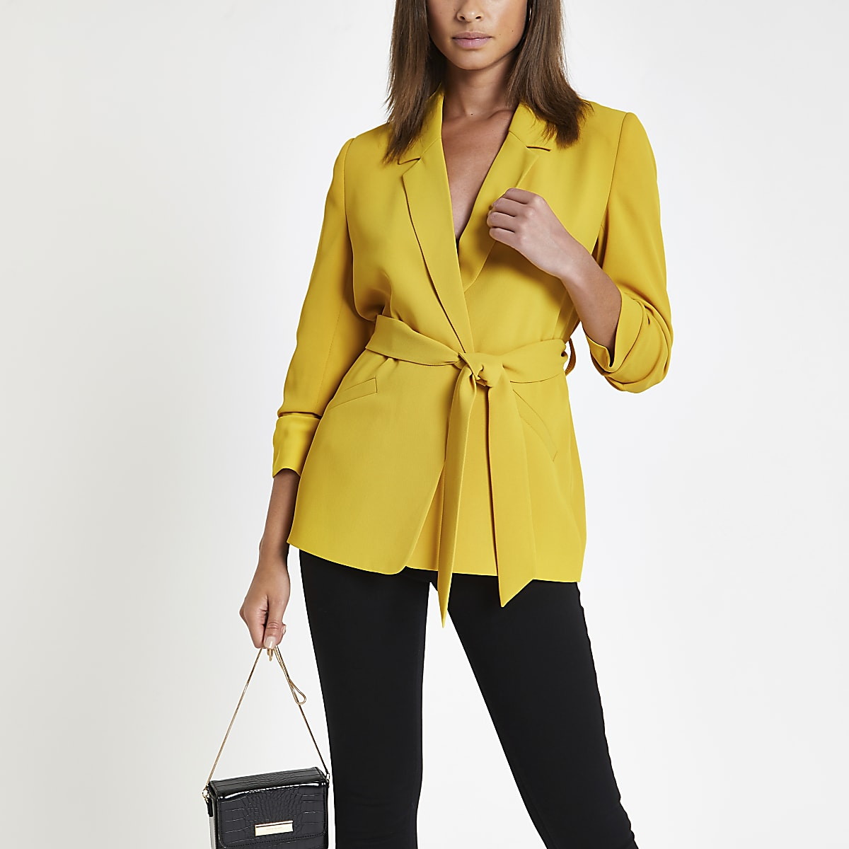 Yellow ruched sleeve belted blazer