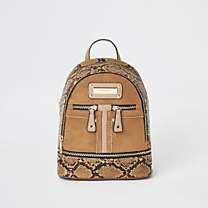 Mini sac à dos effet serpent marron à poche zippée