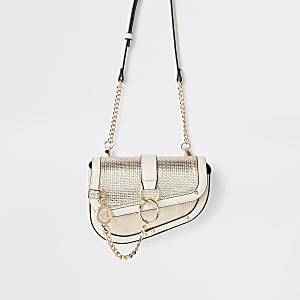 Gold metallic chain hoop saddle bag