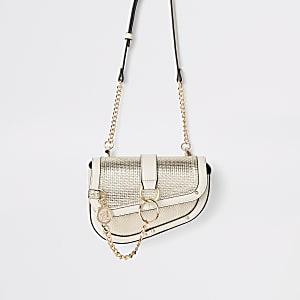 Goudkleurige metallic tas met ketting en ring