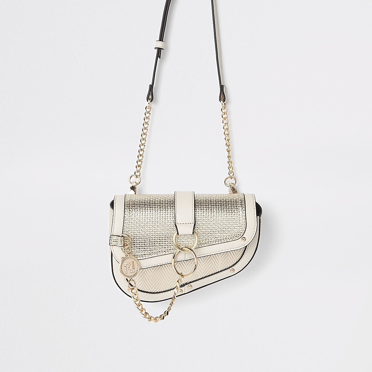 Metallic Saddle Hoop Chain Bag Gold yYbfIg6v7