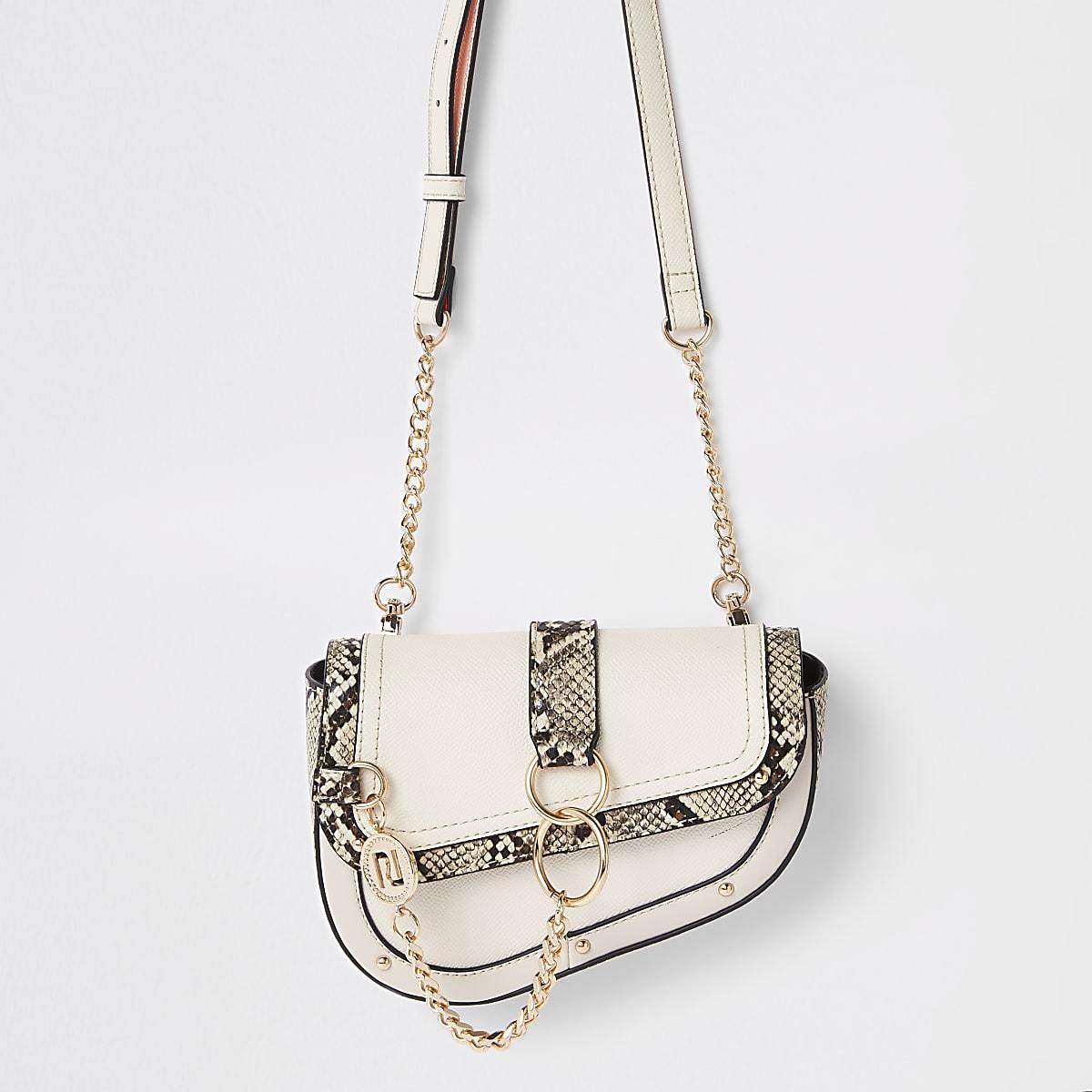 White snake chain hoop saddle bag