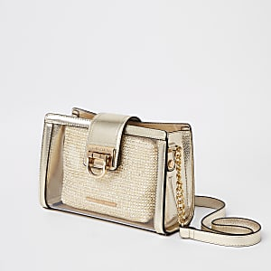 Gold perspex pouch cross body bag