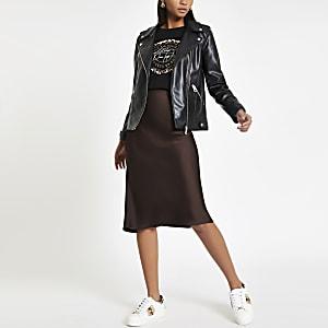 Brown bias cut midi skirt