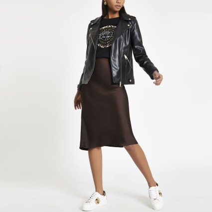 Brown bias cut midi skirt