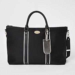 Black mixed panel weekend bag