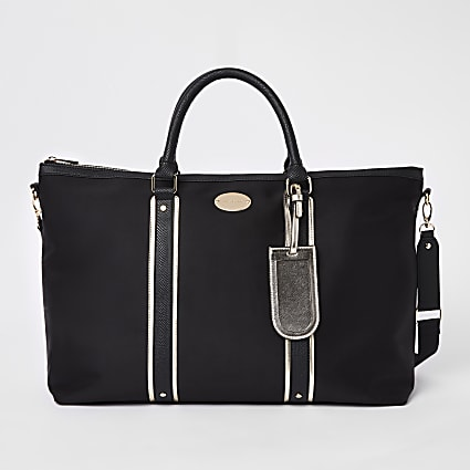 Black mixed panel weekend bag